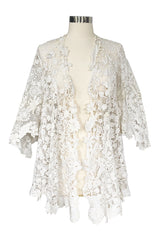 c.1900s Antique Handmade White 3D Floral Irish Crochet Lace Jacket