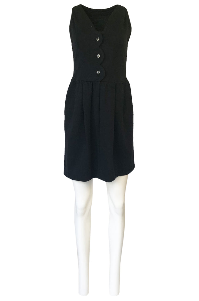 1960s James Galanos Scalloped Front Dress w Rhinestone Buttons
