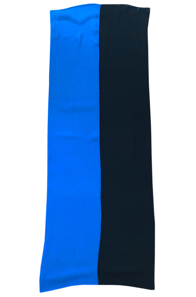 1970s Marc Bohan for Christian Dior Blue & Black Silk Chiffon Scarf