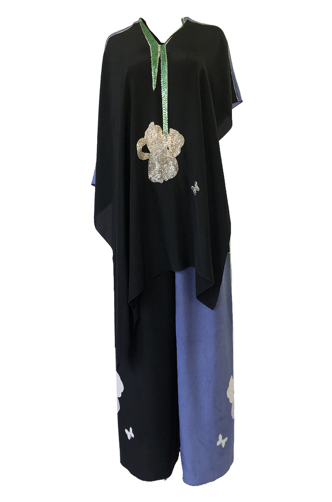 Rare 1980s Michaele Vollbracht Beaded Silk Poncho & Wide Pant Set