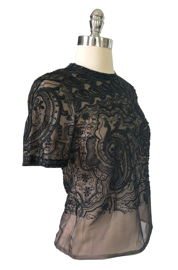 1970s Unlabeled Christian Dior or YSL Haute Couture Lesage Top