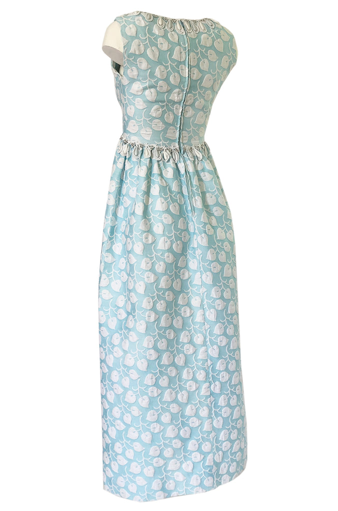 1970s Victor Costa Baby Blue Raised Leaf Patter Dress W Bead Details