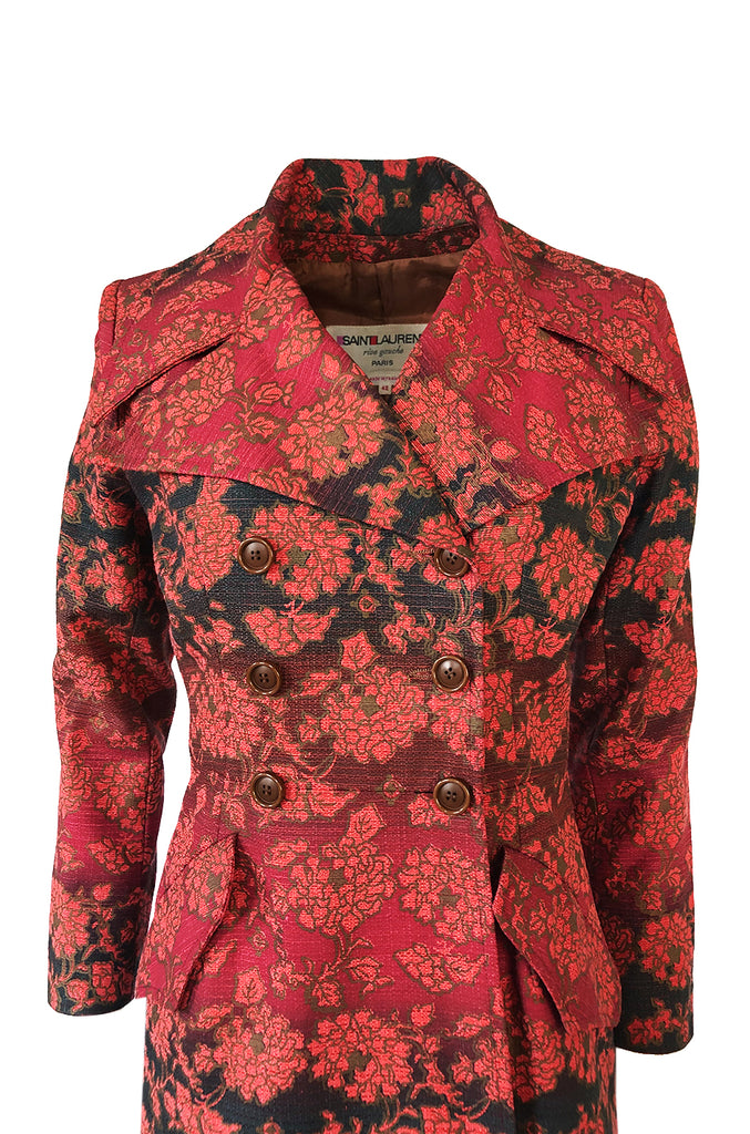 Rare c.1969 Yves Saint Laurent Floral Cotton Canvas Brocade Spy Coat