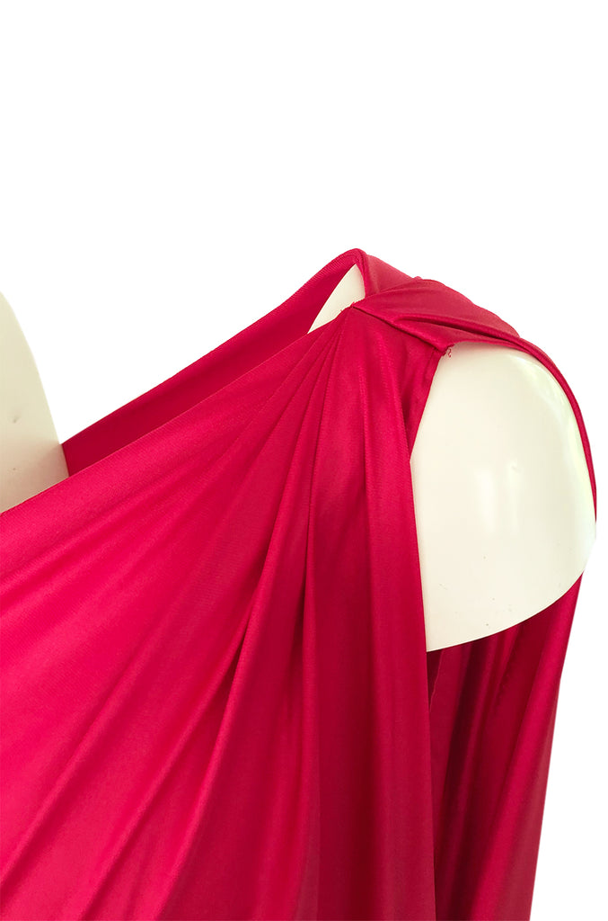 c.1978 Halston One Shoulder Draped Pink Nylon Jersey Full Length Maxi Dress