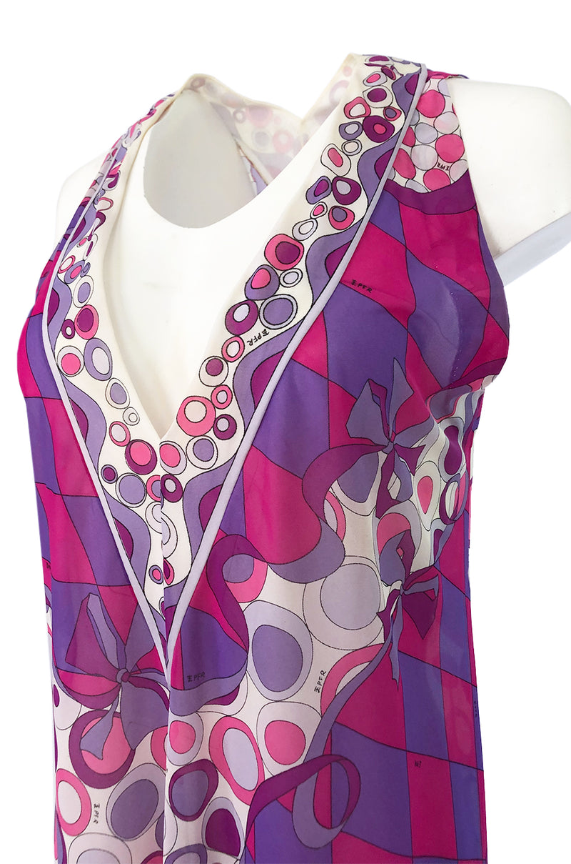 1960s Emilio Pucci for Formfit Rogers Purple & Pink Nylon Lingerie Dress