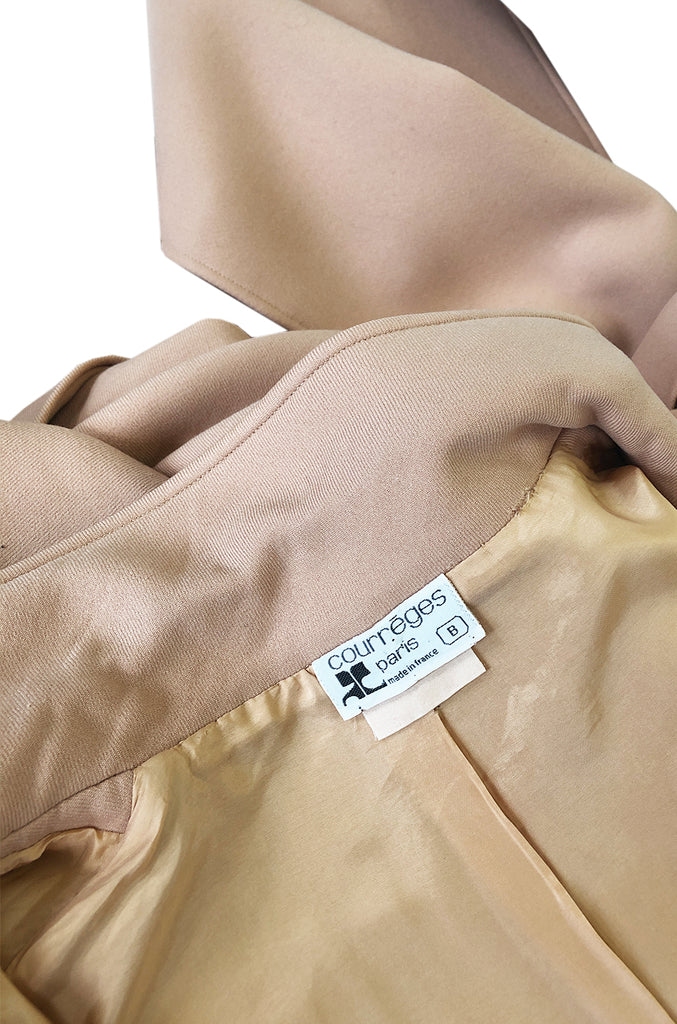 Immaculate 1960s Courreges Unusually Seamed Camel Toggle Coat
