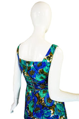 1950s Gigi Young Silk Print Wiggle Dress