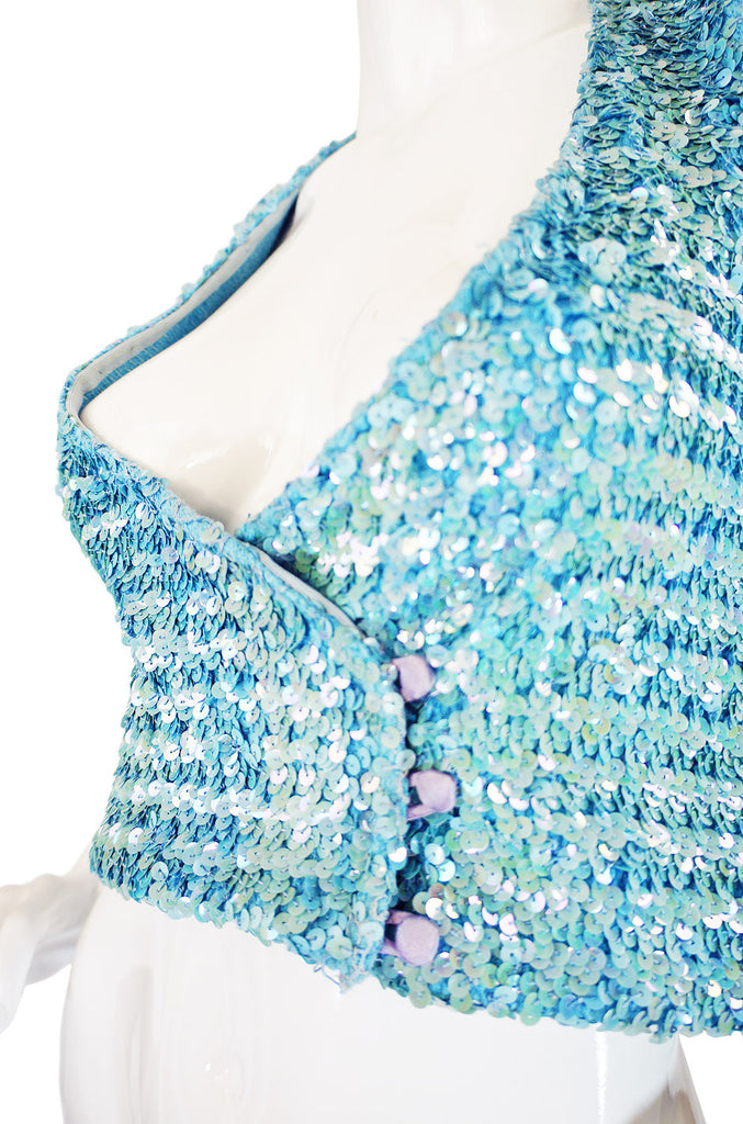 c1973 Biba Baby Blue Sequin Vest Top
