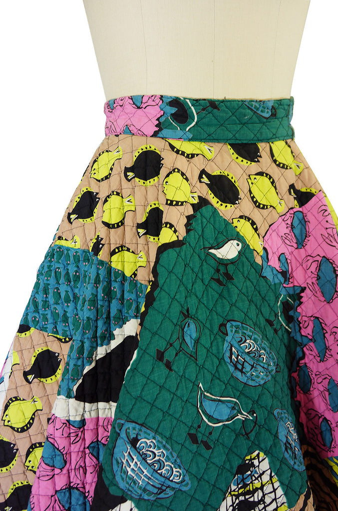 1950s Rare Quilted Fish Print Circle Skirt