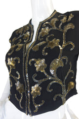Amazing 1940s Sequined Zip Front Top
