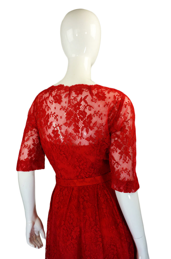 1950s Rare Red Lace Hardy Amies Dress
