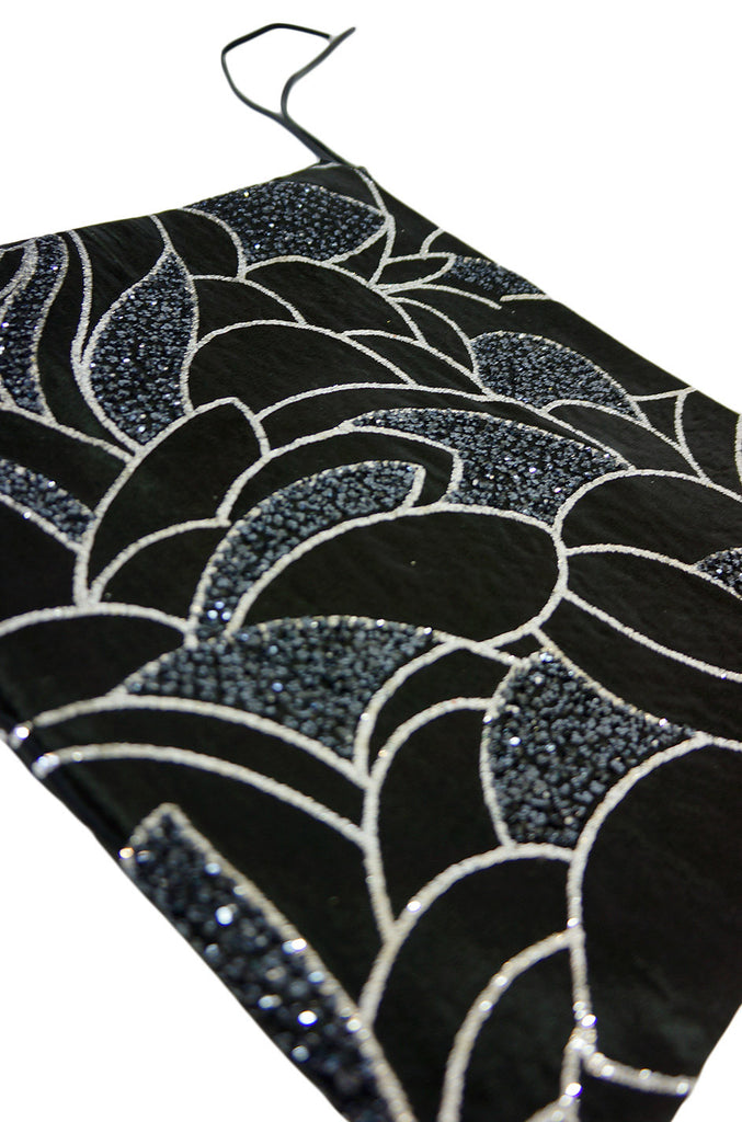 Now On Sale - Vintage Black & Silver Glitter Fold Clutch