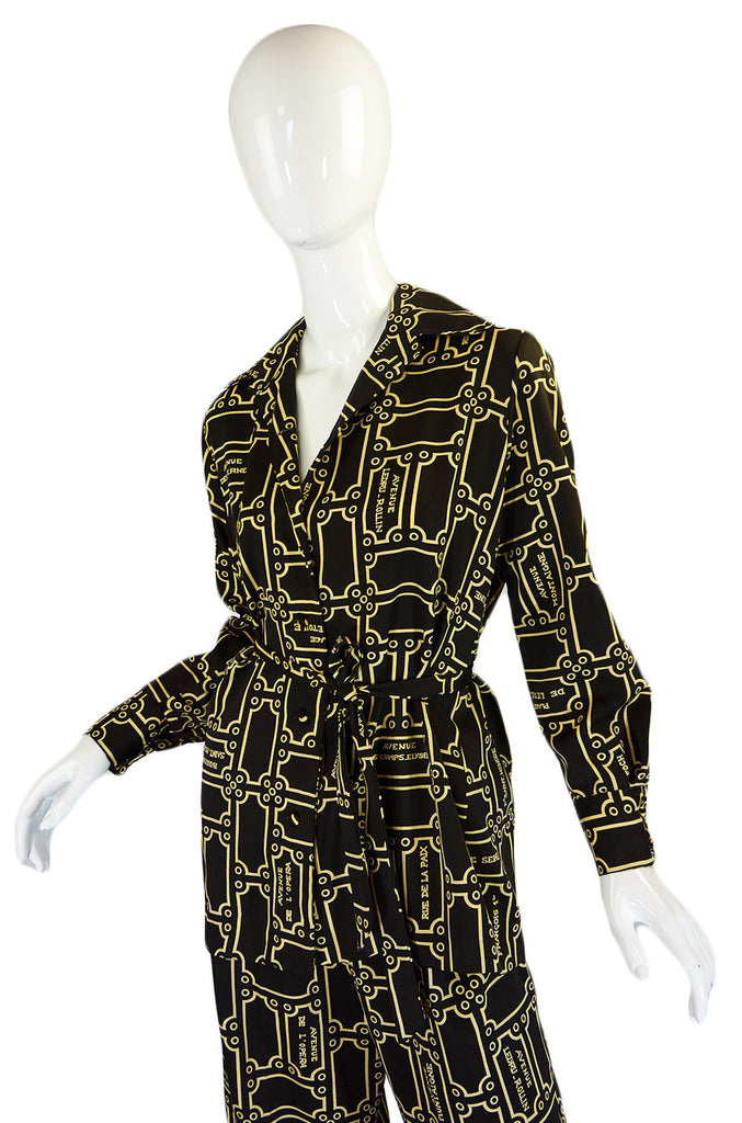 1970s Lanvin Printed Jersey Three Piece Pant Suit