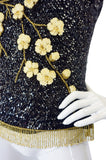 1950s Hand Sequin Shell W 3D Flowers