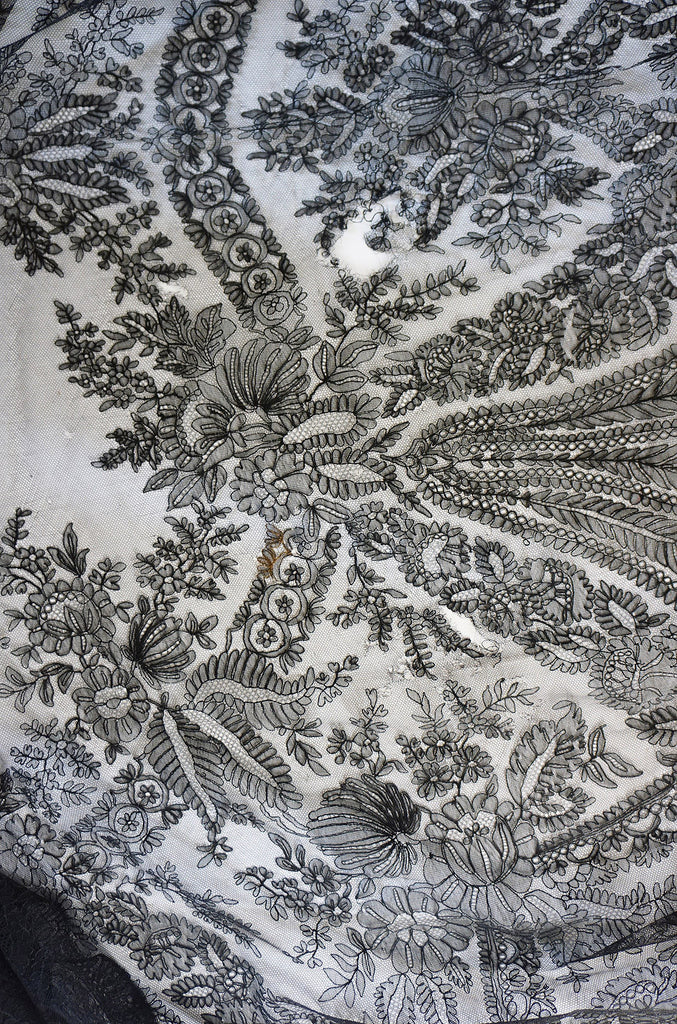 1860s Hand Made Chantilly Square Shawl