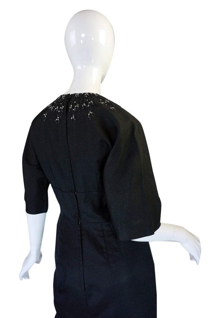 1950s Silk Beaded Cocktail Black Dress