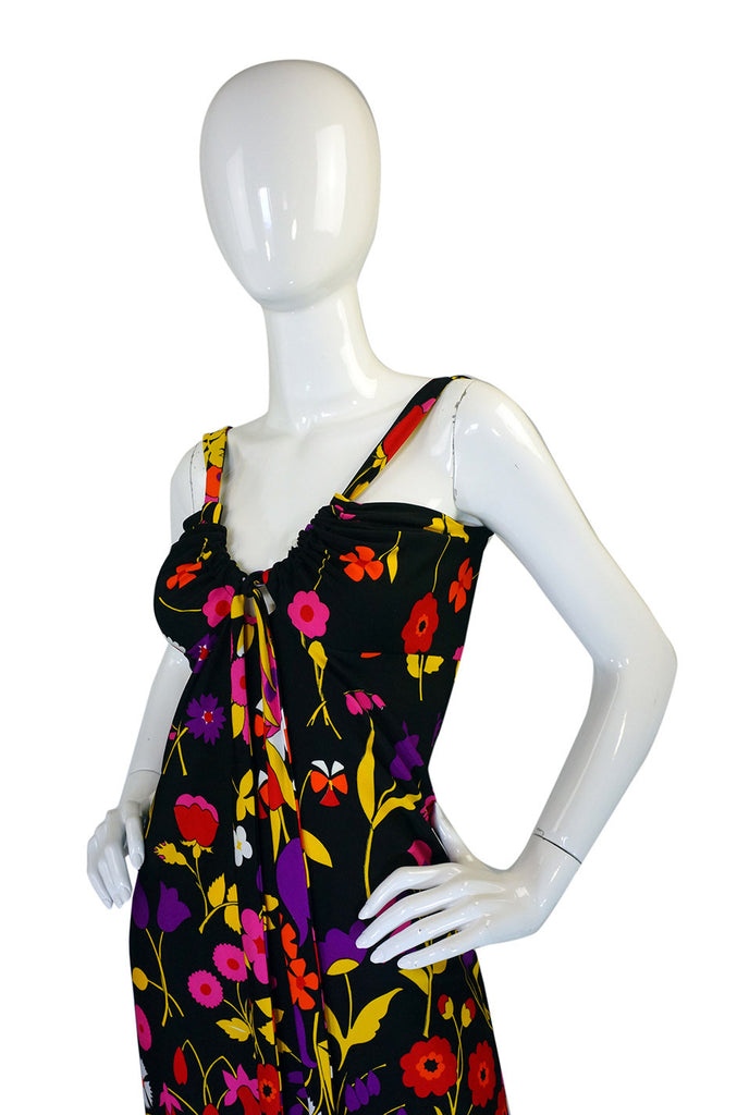 c1973 Lanvin Floral Jersey Halter Dress