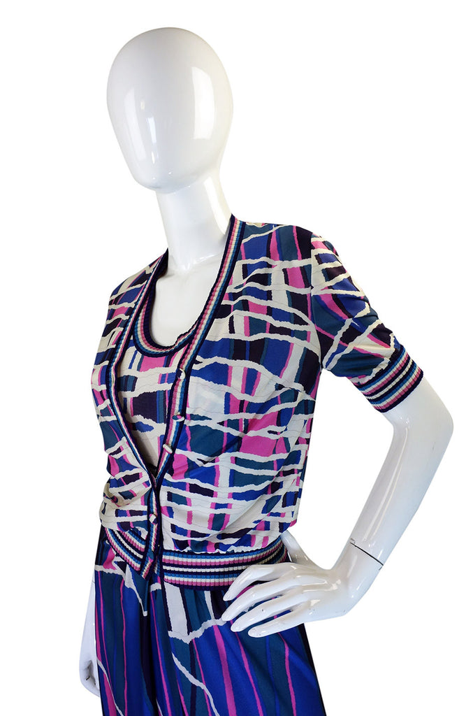 1970s French Pretty Print Dress & Jacket