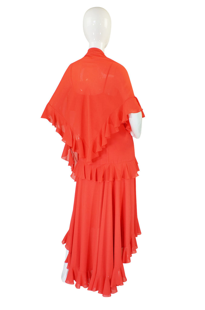 1970s Adele Simpson Ruffled Dress