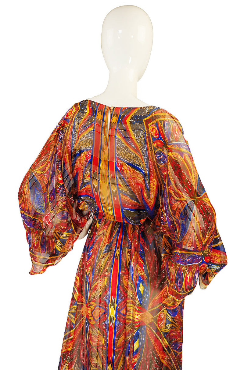1970s Colorful Silk Chiffon Flutter Dress