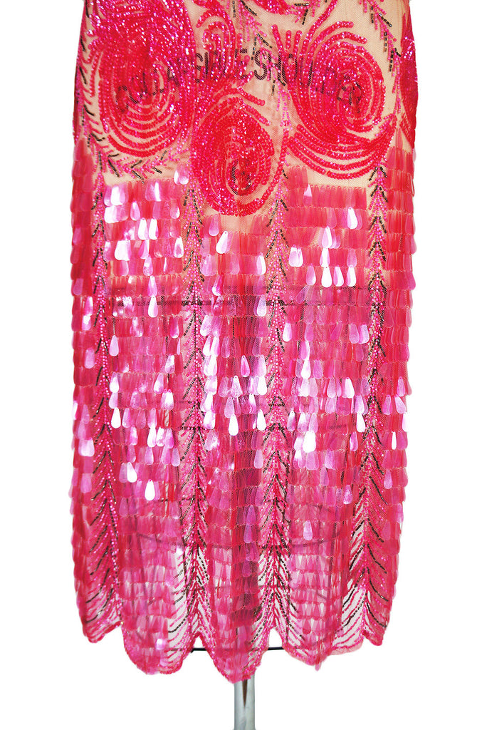 1920s Pink Sequin & Paillette Net Flapper