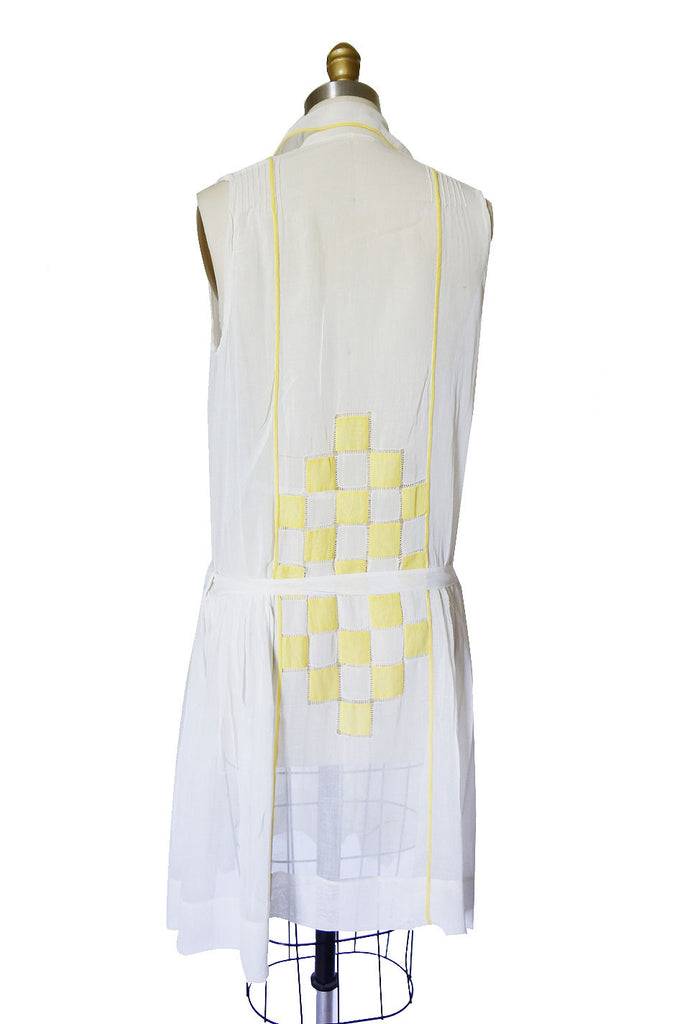1920s French Check Cotton Batiste Dress