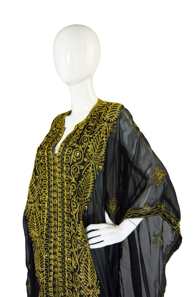1970s Hippie Chic Embroidered Caftan