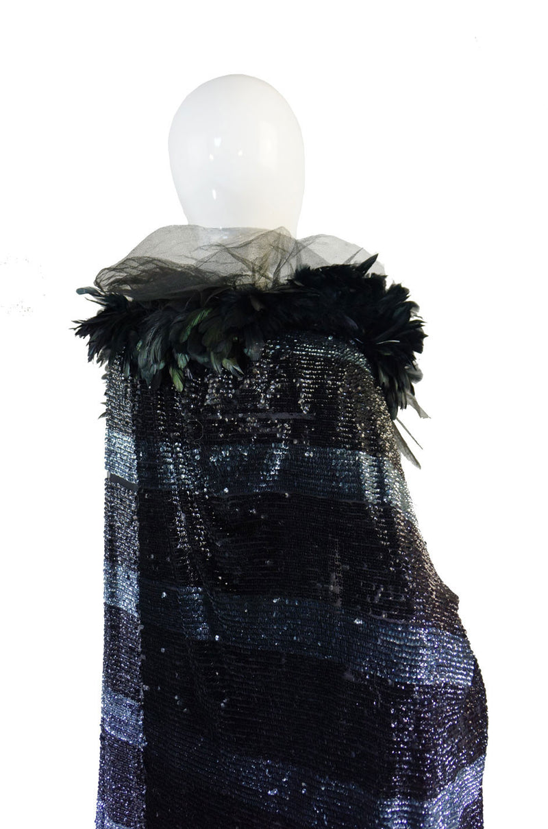 1920s Feather & Sequin Cocoon Cape