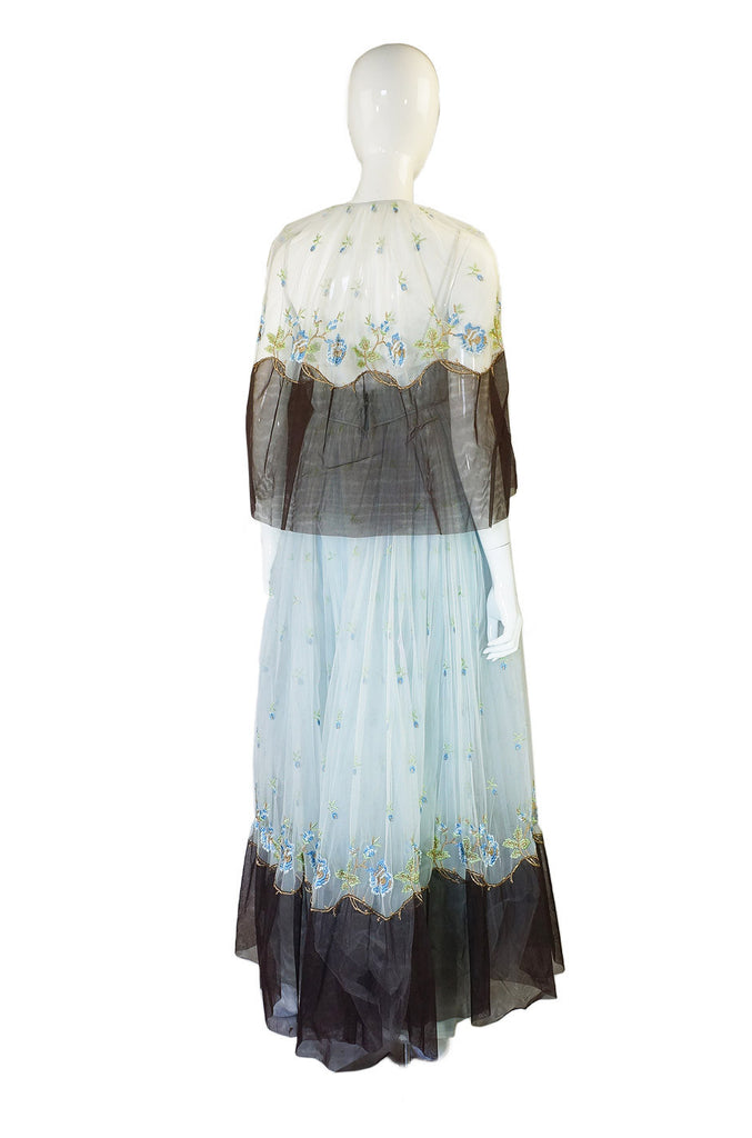 1960s Bosand Net Blue Gown with Cape