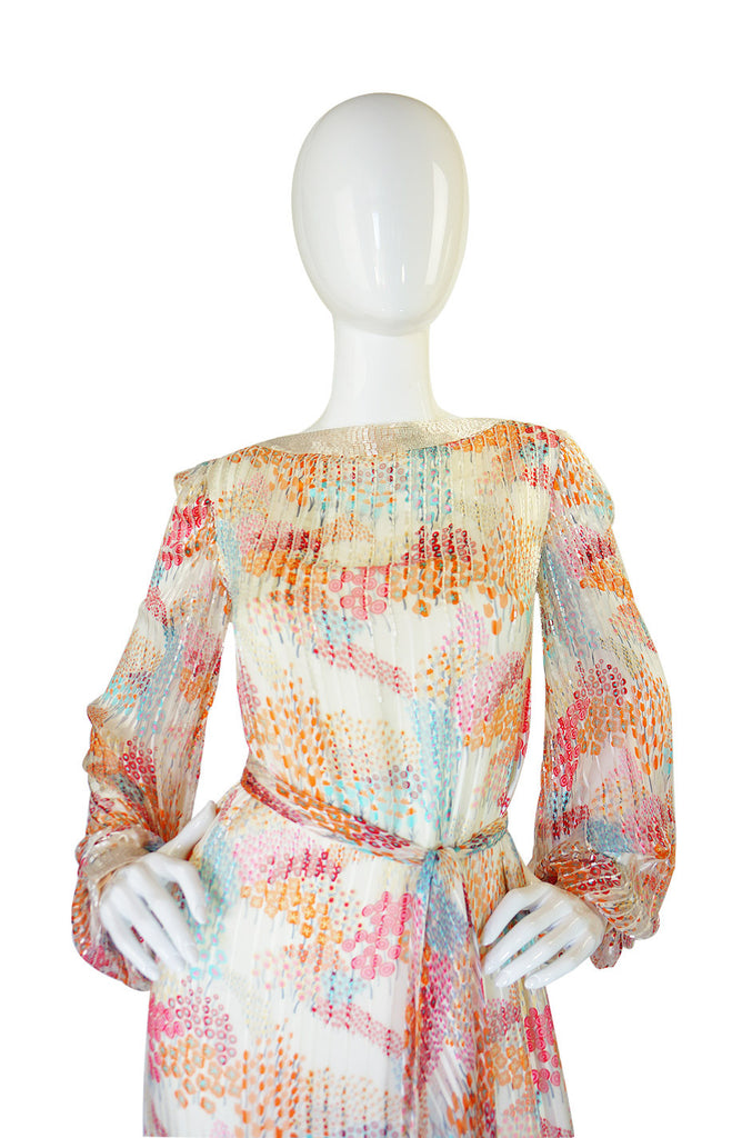 1970s Beaded Silk Alfred Bosand Dress