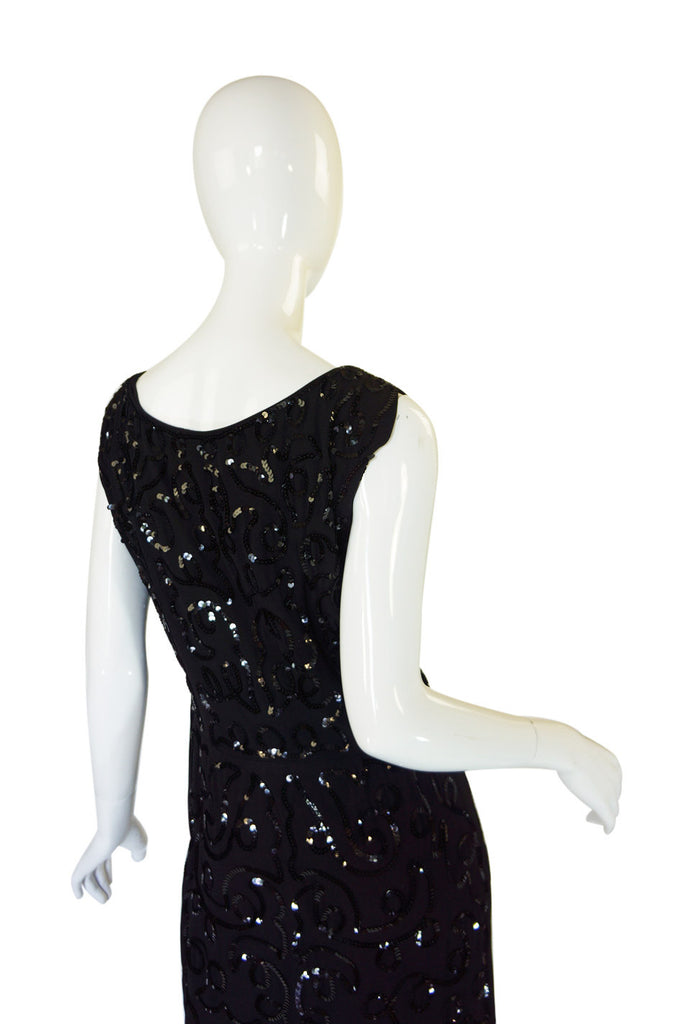 Early 1930s Sequin Silk Crepe Shift Dress