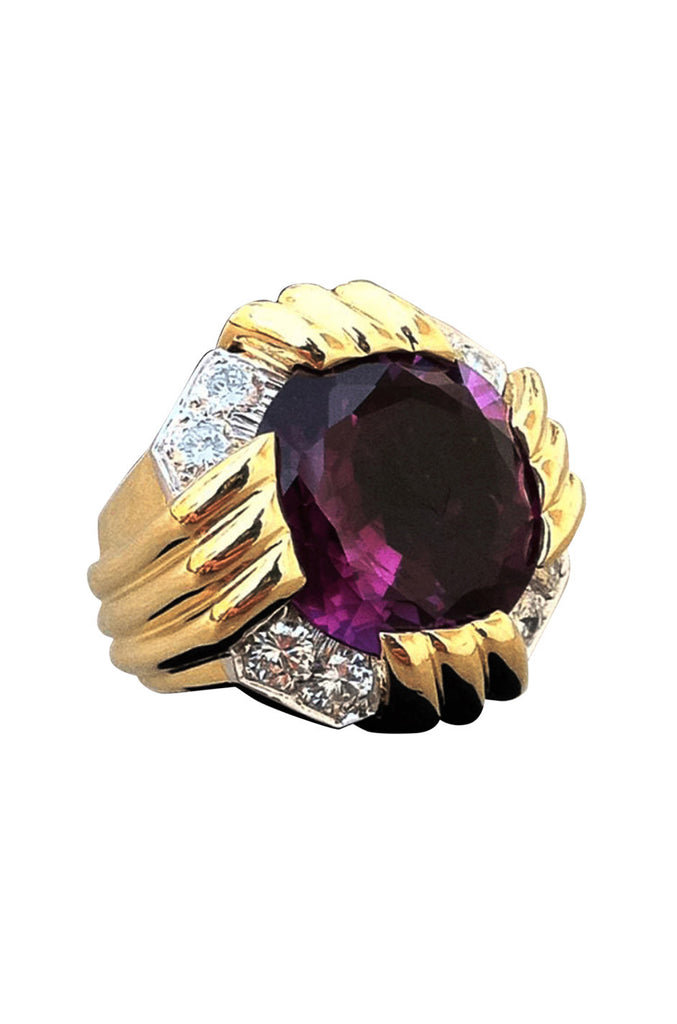 David Webb Gold Platinum Amethyst Diamond Ring
