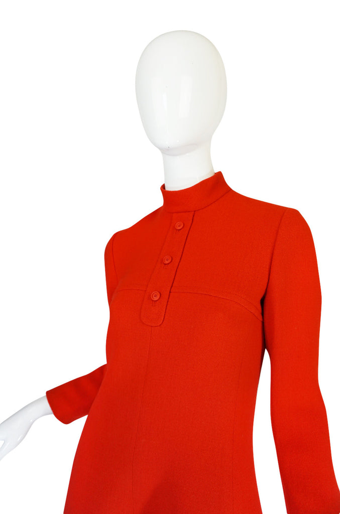 1960s Miss Dior Chic Bright Red Mod Dress