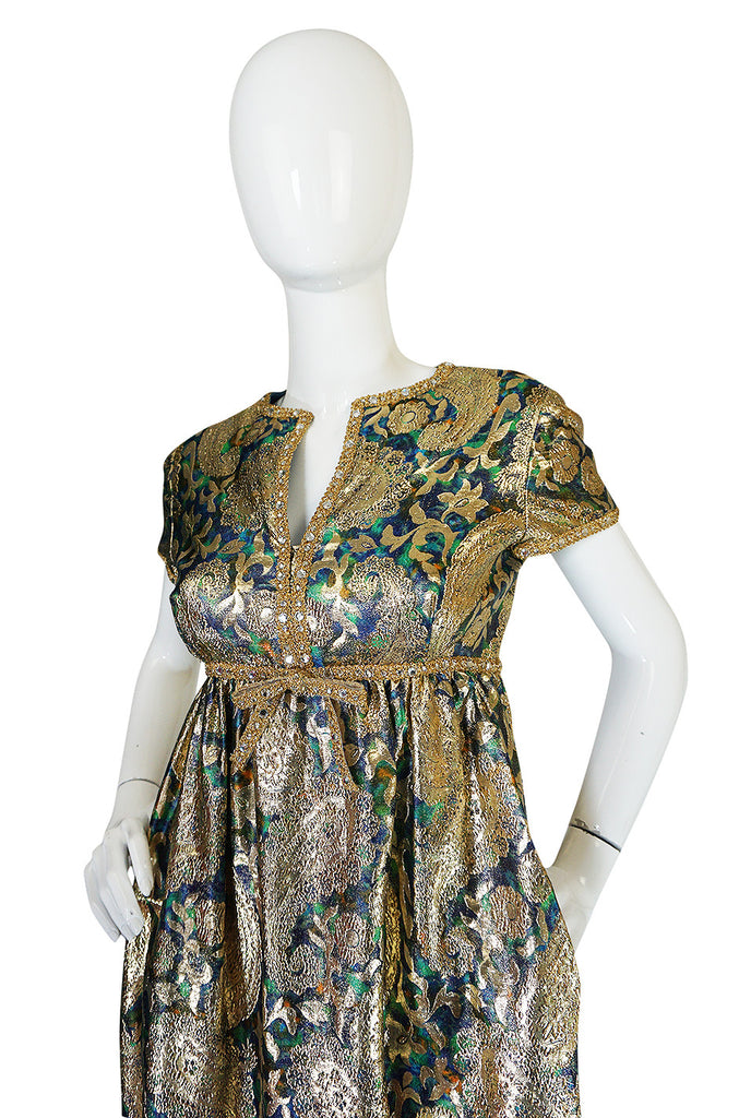 1960s Gold Metallic Organza Malcolm Starr Dress