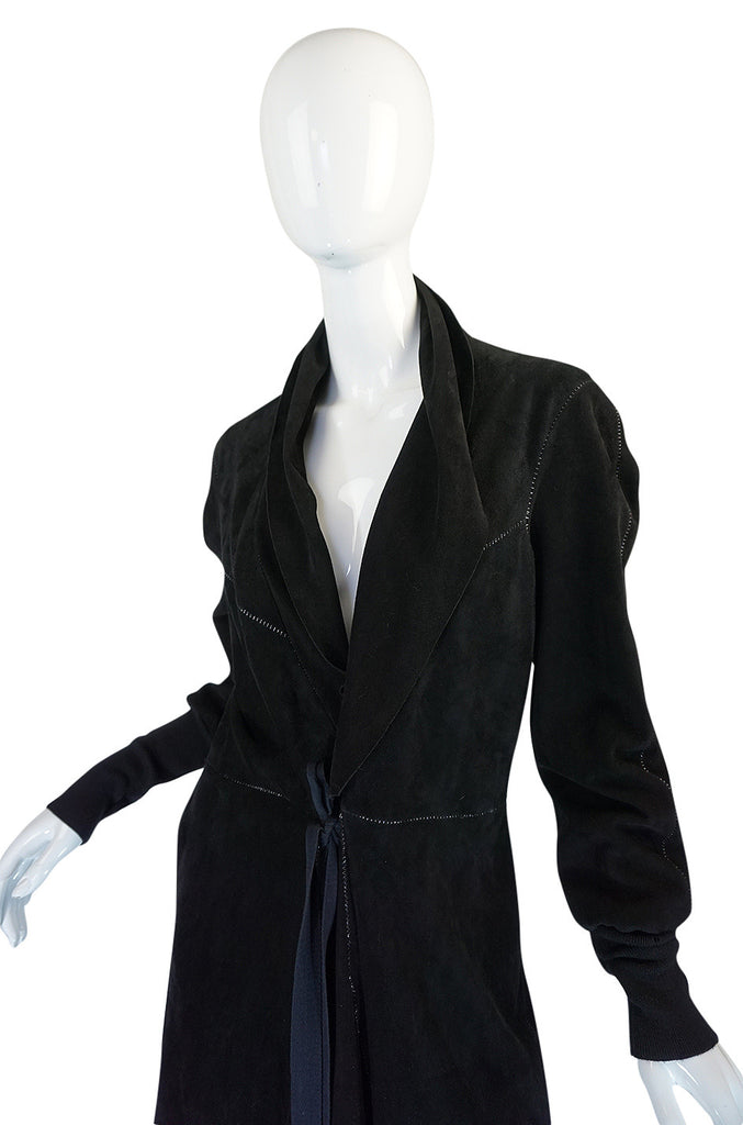 1990s Christian Lacroix Butter Soft Black Suede Wrap Coat