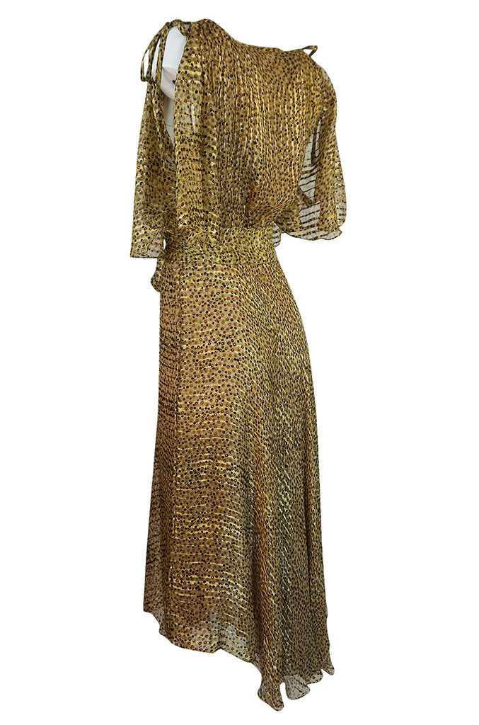 1970s Annacat Pintuck Bias Cut Fine Ribbon Silk Chiffon Dress