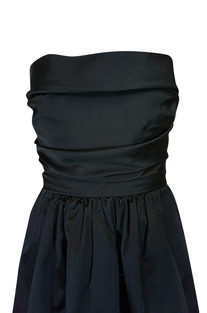 Chic 1970s Pauline Trigere Black Silk Satin Strapless Dress
