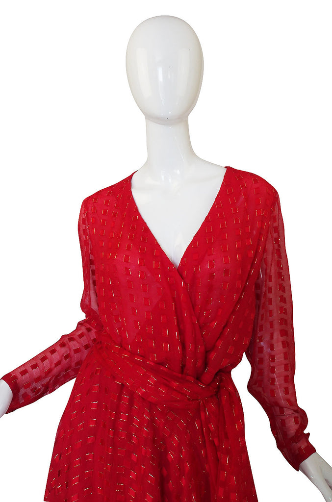 1970s Numbered Dior Patron Original Silk Dress Set