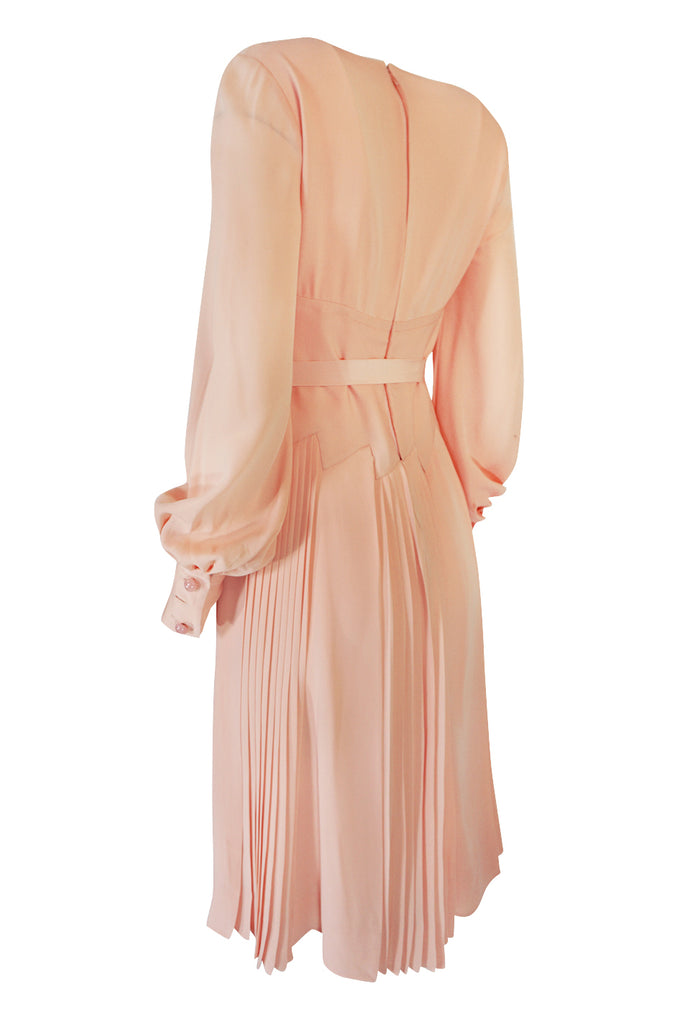 A/W 1973 Christian Dior Haute Couture Intricately Pleated Silk Dress