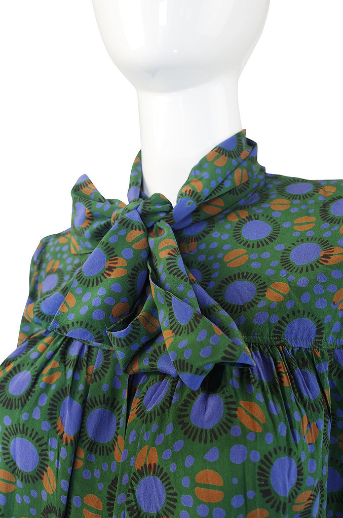 1970s Yves Saint Laurent Green Print Silk Top