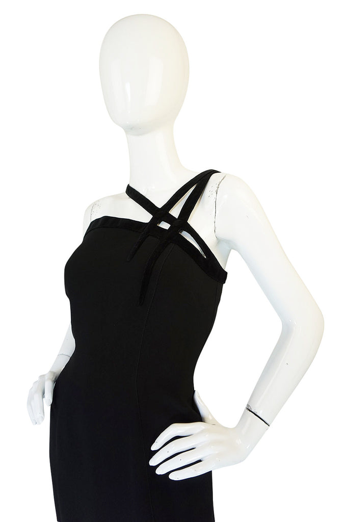 1980s Thierry Mugler Velvet Detailing One Shoulder Dress