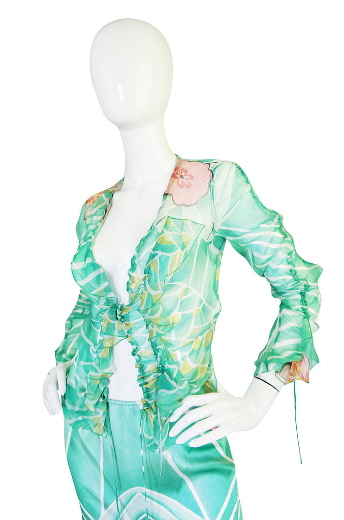 1990s Galliano for Christian Dior Printed Silk Top & Skirt