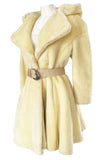 Incredible 1980s Thierry Mugler Cinched Waist Faux Fur Hooded Coat