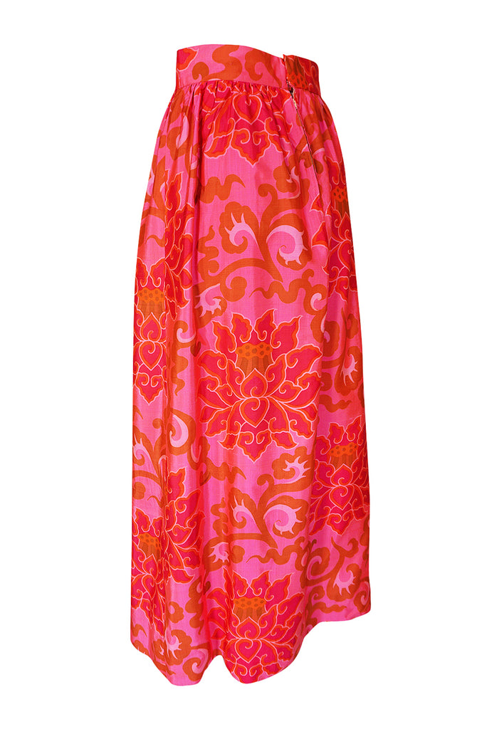 1960s Unlabeled Pink Printed Full Length Thai Silk Skirt