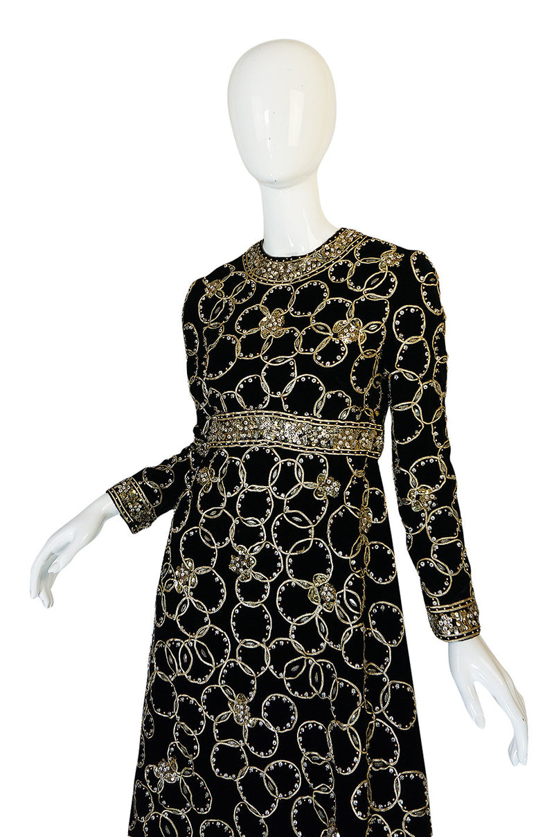 Super Sale! 1960s Malcolm Starr Gold Braid, Sequin & Beaded Dress