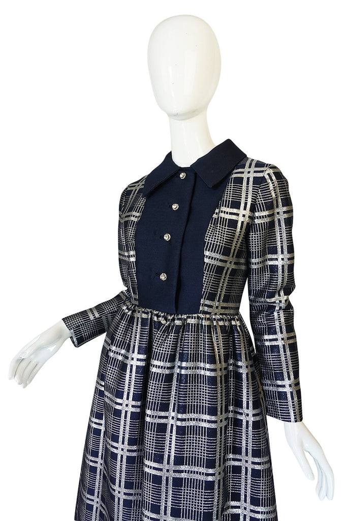 1960s Navy Silk & Silver Metallic Oscar de la Renta Dress