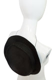 c1982-1987 Yves Saint Laurent Glossy Black Couture Boater Hat