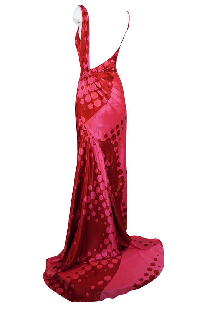 S/S 2003 Christian LaCroix Raspberry Pink & Red Silk Trained Dress