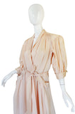 Classic 1940s Blush Cream Rayon Hostess Wrap Dress
