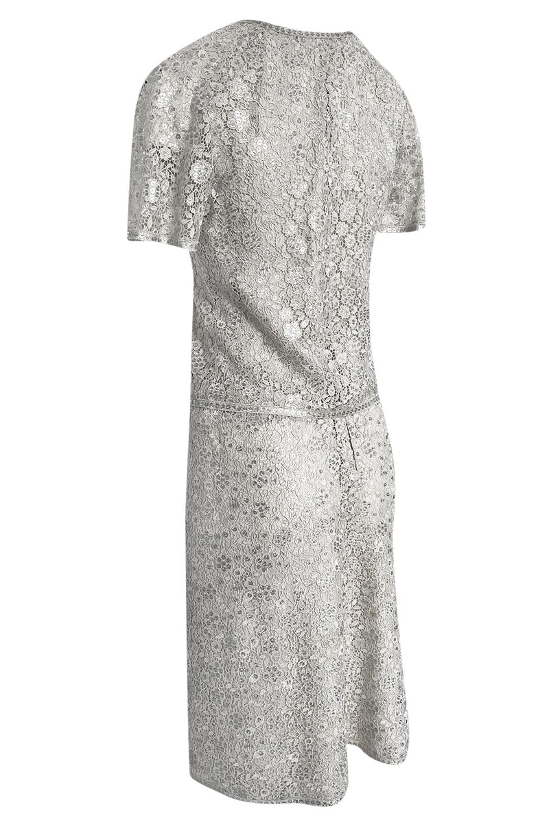 Fall 1975 Emanuel Ungaro Haute Couture Silver Grey Lace & Sequin Top & Skirt Evening Set - 25% OFF TAKEN AT CHECKOUT